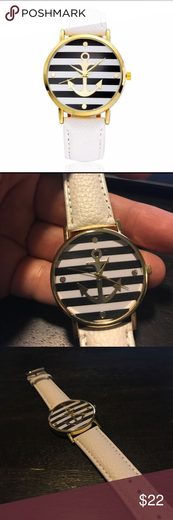 """The Mellie"" Anchor Watch White vegan leather band. Gold anchor with nautical stripes with gold hands. brandys closet Accessories Watches"