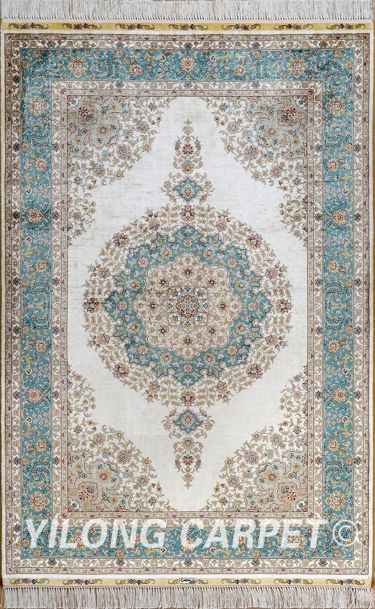 Green Persian rug Oriental Turkish carpet silk rug…
