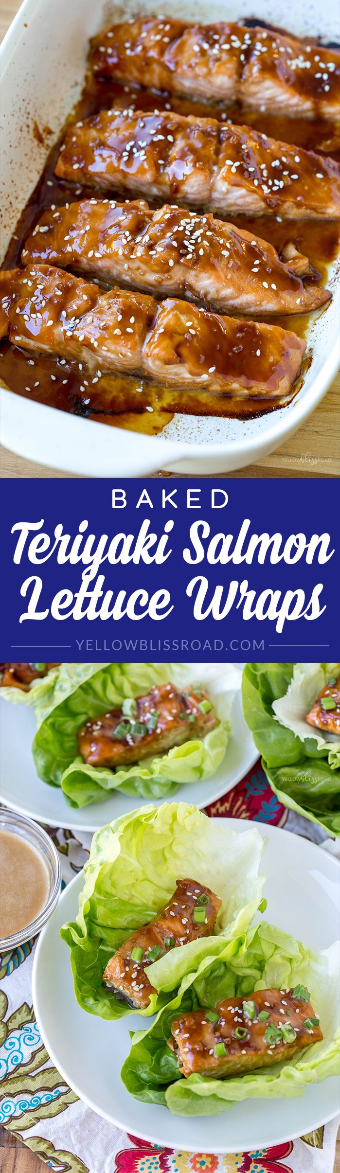 Tender, flaky pieces of Baked Teriyaki Salmon are nestled in crisp lettuce wraps. A healthy and light protein-packed meal for lunch of dinner.