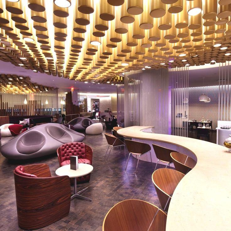 Зал ожидания Virgin Atlantic Clubhouse JFK — стильный проект от Slade Architecture, Нью-Йорк, США