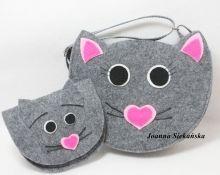 torebka kot  z portfelem myszką
