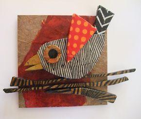 Mary begins with odd shapes of scrap wood from the local cabinet shop and a life-long stash of beautiful handmade papers from all over the world, Mary has made these bird collages come to life. This bird is truly one of a kind, mounted on an 8 by 8 ½ inch plaque and signed by the artist. Wendy Beck