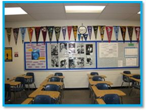 College Pennant Wall for High School Classroom. Something to give them inspiration, something to strive for. I would love if my students sent me pennants of the schools they visit or schools they end up attending. Can share with future students that they were given to me by past students who have gone onto college.