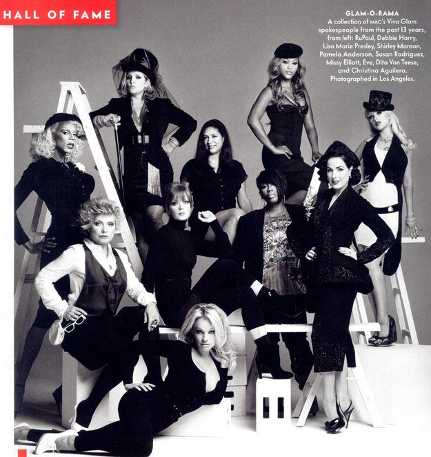Vanity Fair got a bunch of the spokesmodels together for a smart black and white group photo — much more sedate than the average Viva Glam shoot.