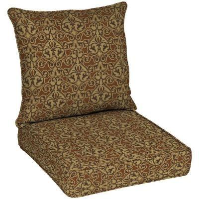 Patio Cushion Ideas   Hampton Bay Cayenne Scroll Quick Dry Pillow Back  Outdoor Deep Seating Cushion