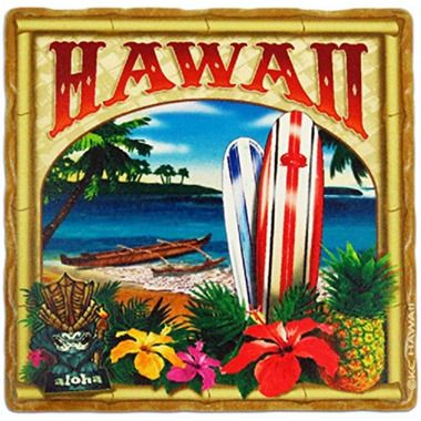 Hawaii Sandstone Coasters Set Of 4 Beach & Surfboards
