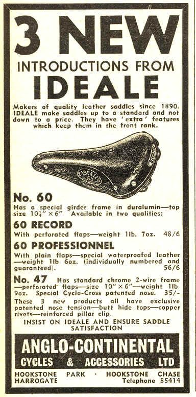 An Ideale advert in the 1964 edition of British Cycling.