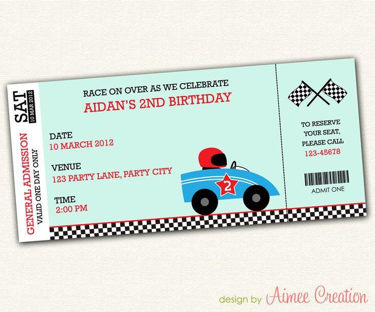 Race Car Birthday Invitation - PRINTABLE Birthday Party Invitations for Boys (Grand Prix Ticket). $12.00, via Etsy.