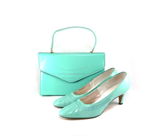 Aqua handbag and matching shoes by Personality