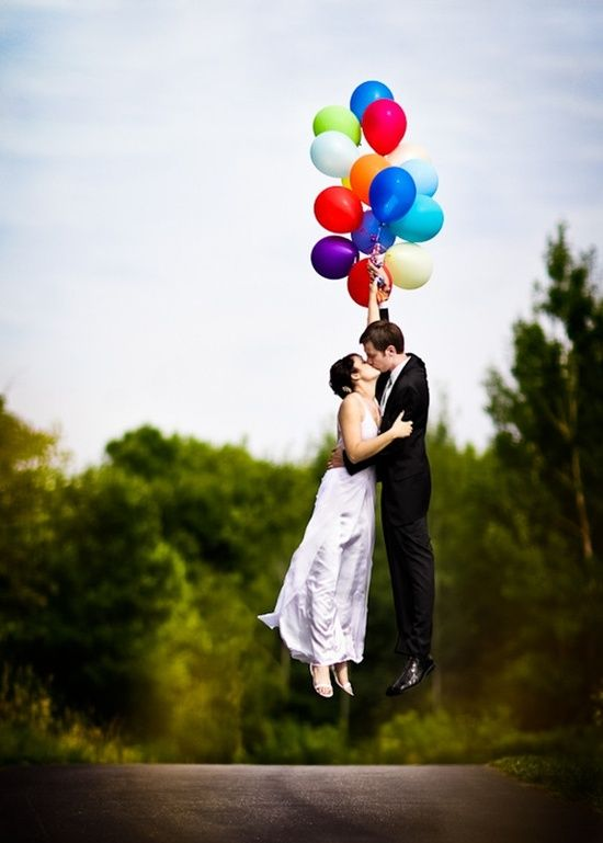 Great idea, flying away. Just make 2 Photos: 1. without wedding couple 2. with wedding couple on a chair After that, easy to make in Photoshop!