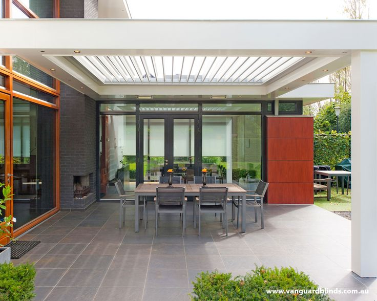 Louvretec 180 Linear opening louvre roof with lighting (available from Vanguard Blinds)