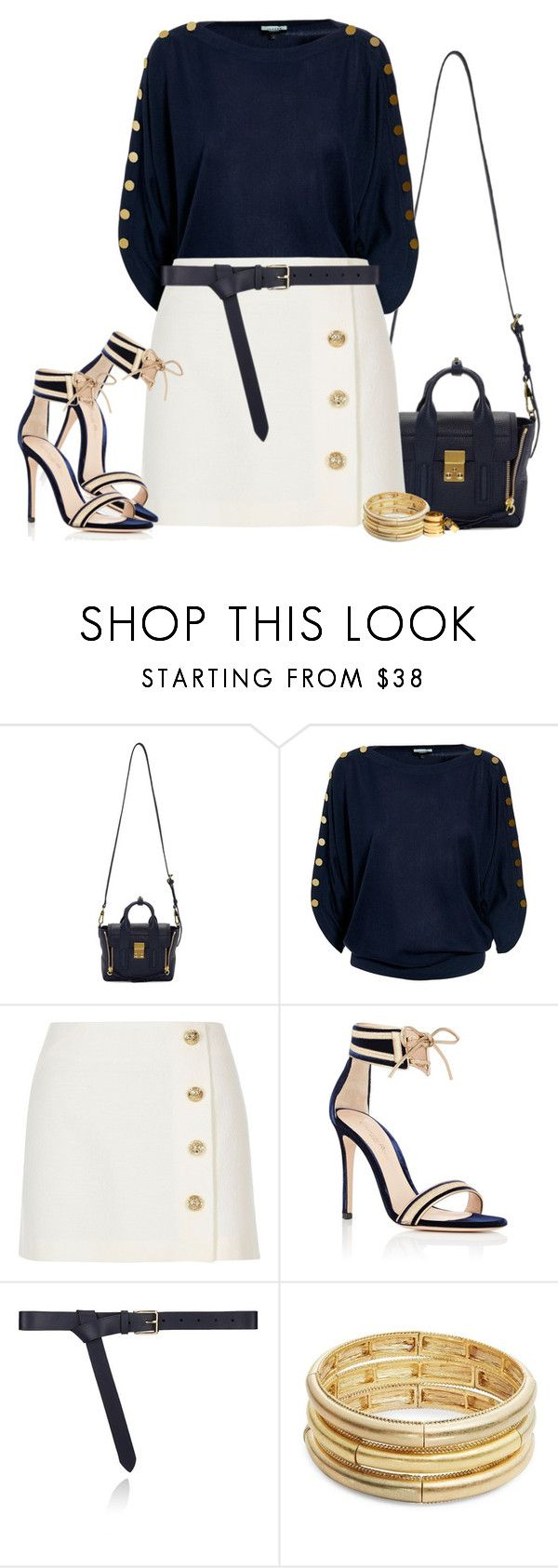 """que te sueño y que te quiero tanto."" by malala29 ❤ liked on Polyvore featuring 3.1 Phillip Lim, Jaeger, River Island, Gianvito Rossi, Maison Boinet, Nanette Lepore, H&M and goldandblue"