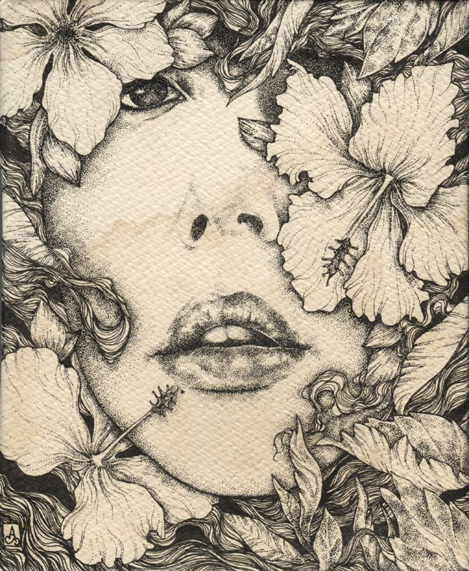 """You should belong to me"" Ink on tea stained. Drawing by Alice Savage"