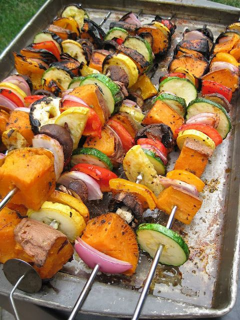 Grilled Sweet Potato and Vegetable Skewers...perfect side dish for a BBQ! :)