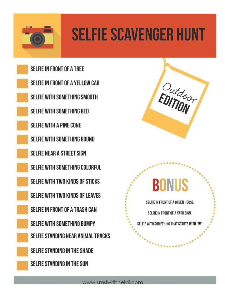 Selfie Scavenger Hunt - change the venues to young people places to determine whether young people can find them easily?