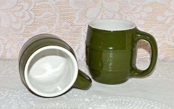 Hall Barrel Green Coffee Mugs Cups Vintage Green by WVpickin
