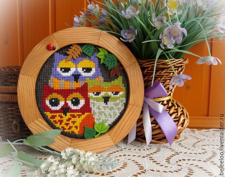 Купить Три совы - подарок с совой, подарок с совами, картина с совами, круглая картина
