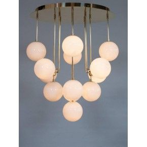 Chandelier in Murano Glass with Brass Frame