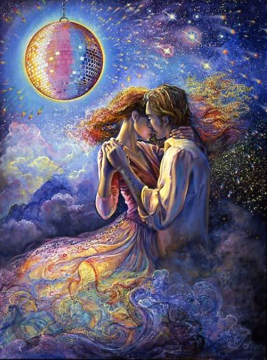 Love is in the Air Dancing in the moonlight the lovers are transported to a world of their own.  The moon becomes a  glittering mirror-ball scattering rainbow stars to light up their cloudy ballroom.  When love is in  the air all things are possible!