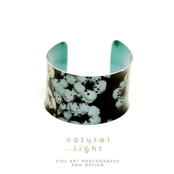 Cuff Bracelet - Botanical Jewellery - Floral Garden In Pale Blue Cuff Bangle - Bridal Jewellery - Boho Wedding - Nature Jewellery - Flower