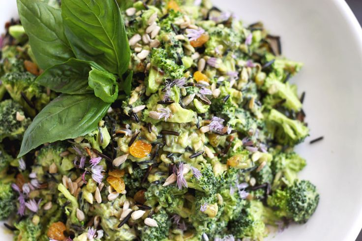 Broccoli, Basil and Avocado Toss with Wild Rice - The First Mess