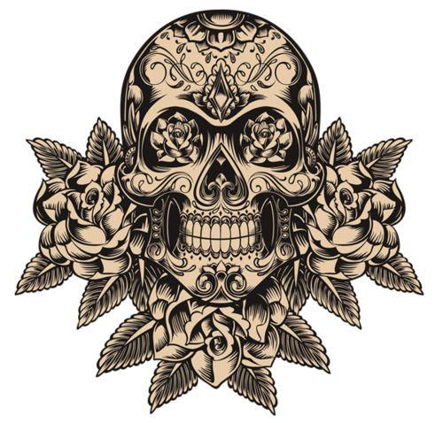 traditional skull with sugar skull markings