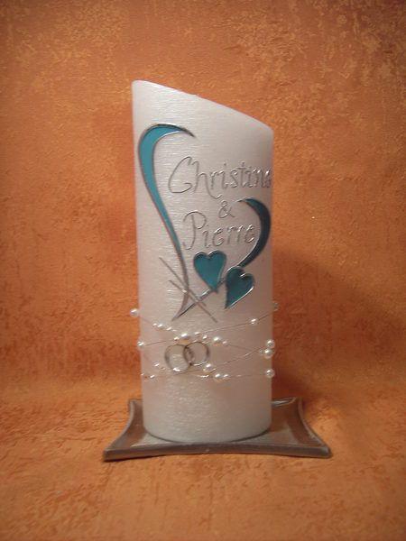 Hochzeitskerze 517 Perlmutt-Struktur von KerzenundGeschenke auf DaWanda.com