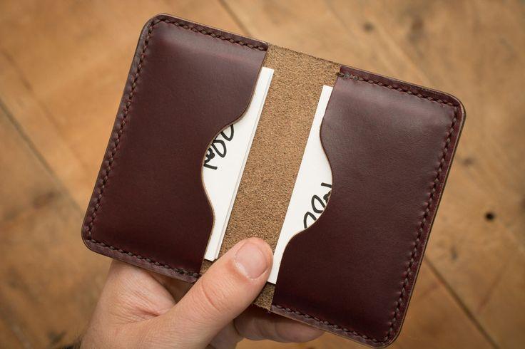 Burgundy Leather Business Card Holder