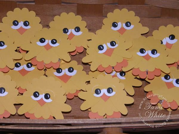 Chick card with peppermint patty for Easter...  Made with Stamping Up Punches