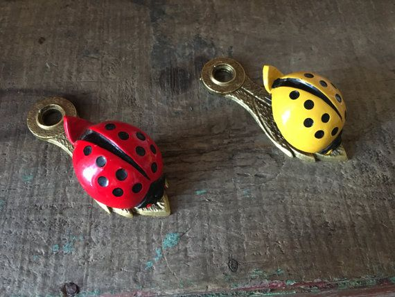Pair- Vintage Allied Brass Red & Yellow Ladybug Letter Holder/ Clamp