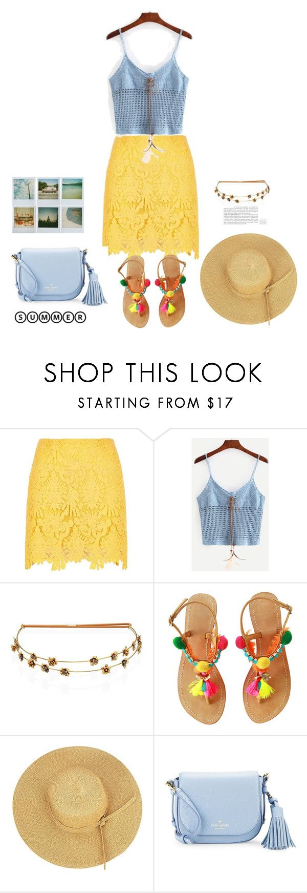 """""""SheIn(sheinside) Blue Lace-Up Crop Crochet Cami Top"""" by sweet-fashionista ❤ liked on Polyvore featuring River Island, Jennifer Behr, Polaroid and Kate Spade"""
