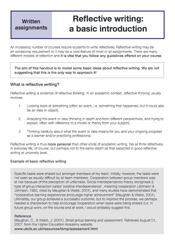 personal reflective journal essay Reflective essay writing on teamwork : reflective essay & paper writing guidance for students lets consult how to write reflective essay papers with 0% plagiarism.