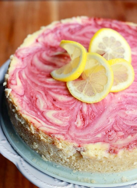 Raspberry Swirled Lemon Cheesecake - I made this for a bake sale at work, but at mini cheesecakes. I used a traditional graham cracker crust instead of the cookie crust in the recipe.