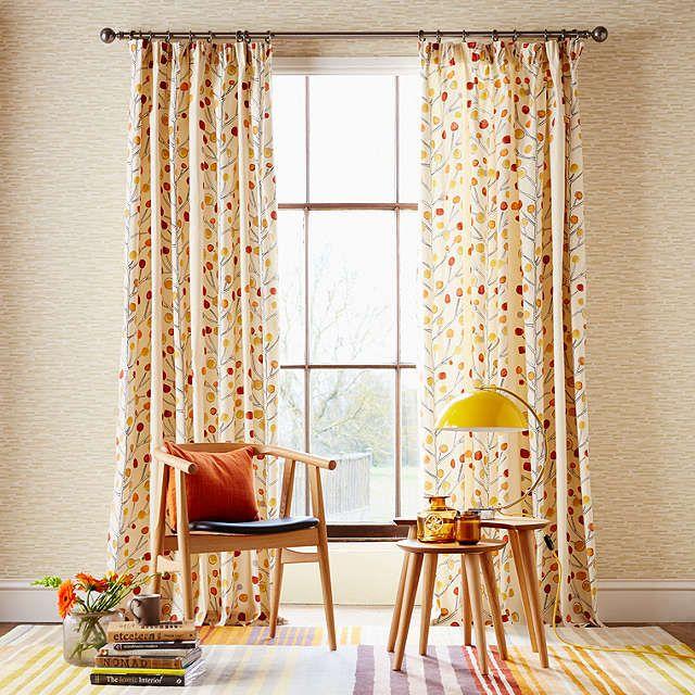 BuyScion Berry Tree Lined Pencil Pleat Curtains, Orange, W167 x Drop 137cm Online at johnlewis.com