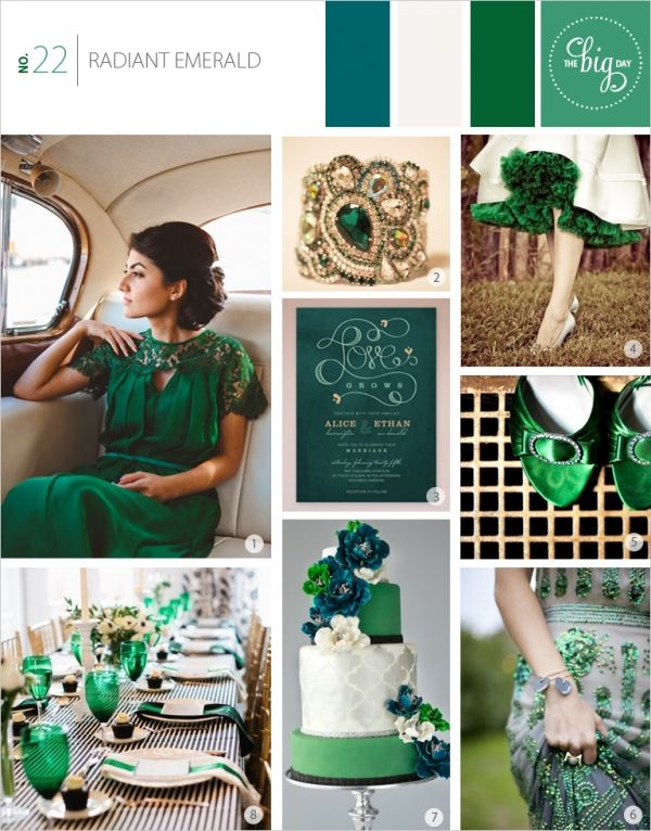 Emerald Inspiration Board - Pantone Colour of the Year 2013. - The Big Day. 1. Emerald Wedding Dress 2. Emerald and Gold Cuff 3. Love Grows Invitation 4. Emerald Tulle Underskirt 5. Emerald Satin and Diamante Shoes 6. Stunning Emerald Sequin and Embroidered Gown 7. Amazing Emerald Four Tier Cake with Ivory and Blue Flowers 8. Emerald, Black and White Table Setting.