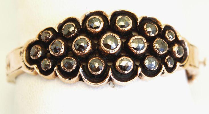 rose gold bracelet,rose gold cuff, rose gold bangle,rose cut diamond bracelet,rosecut black diamond bracelet,rose gold 9 karat bracelet by Yakutta on Etsy