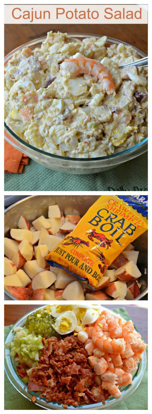 Cajun Potato  Salad-Cajun Shrimp Potato Salad-5 lbs new potatoes, 2 lbs of shrimp ¼ cup crab boil seasoning 1 -1/2 cups mayo ½ lbs bacon, 2 tbl creole mustard 1 tbl Worcestershire ½ cup celery, 6 boiled, sliced eggs 2 tsp Tony Chachere's Creole seasoning ½ tsp black pepper ½ tsp granulated garlic ¼ cup sweet relish