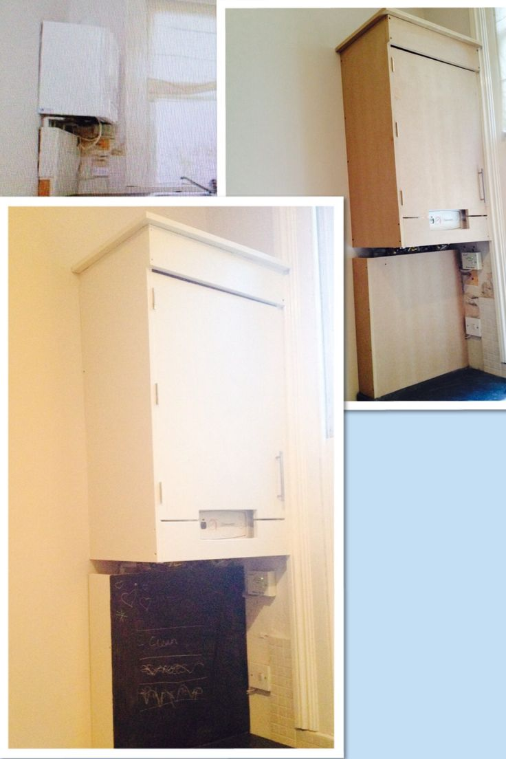 Transform a boiler & it's messy surround by boxing it in with mdf, painting it the same colour as the kitchen cupboards. Even paint some of it to be a blackboard.