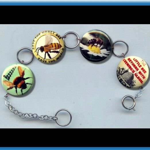 BEES save the Honey Bee Charm Bracelet Altered Art photo jewelry by Yesware11 on Etsy.. Click for details!
