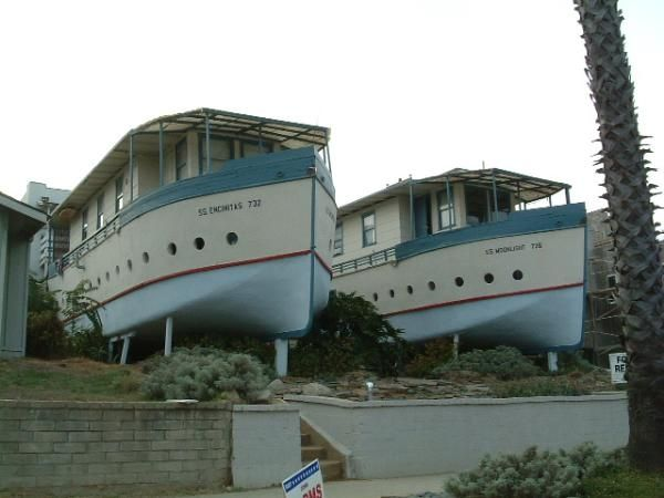 These boat-shaped apartments were never really boats.