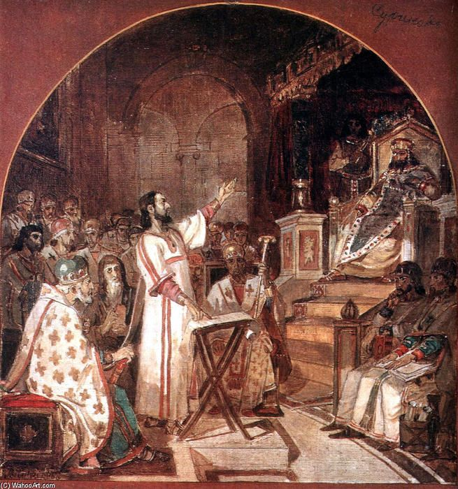 """First Ecumenical Council of Nicaea"", Oil On Canvas by Vasili Ivanovich Surikov (1848-1916, Russia)"