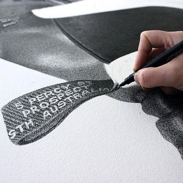 Australian artist CJ Hendry creates oversized illustrations of everyday objects using a fine-tip black pen  #art #illustration #graphicdesign