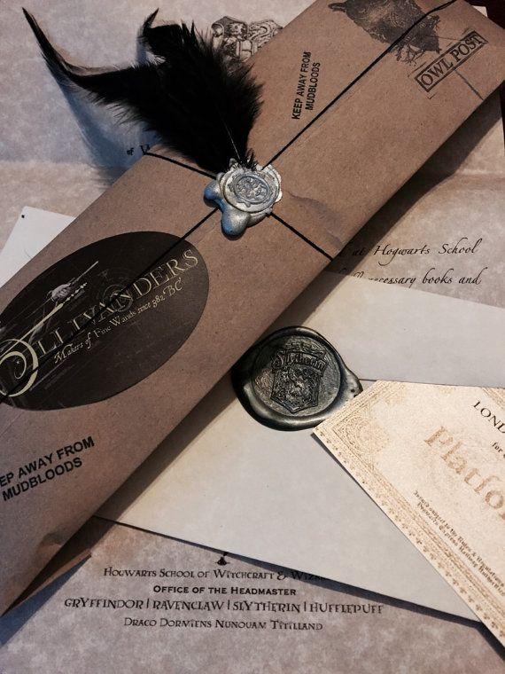 Complete Custom Dark Wizard Set: Hogwarts Acceptance Letter, Slytherin Acceptance Letter, Dark Magic Wand with dark mark tattoo