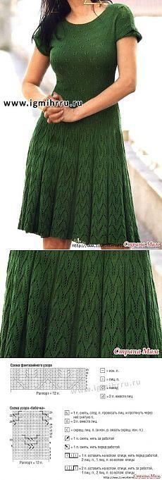 Vestido en línea con un patrón de & quot; mariposa & quot;  - Agujas de tejer - casa las mamás