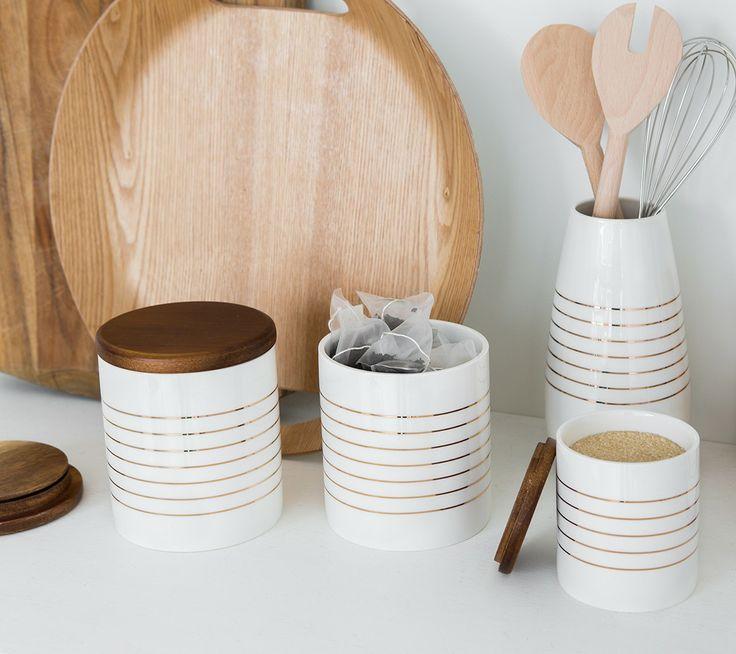Store tea, coffee, sugar and kitchen essentials in these stylish kikki.K Canisters with handy plastic sealers. www.kikki-k.com