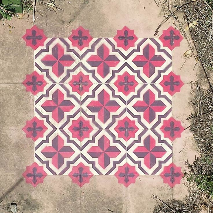 The street art project Floors Installation by Spanish artist Javier de Riba, based in Barcelona, who paints colorful tile patterns with stencils on the floor