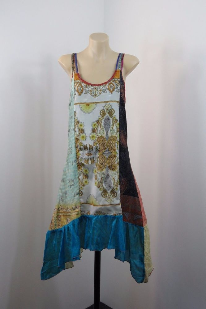 NWT Size XL 16 ISHKA Ladies Sun Dress Vintage Boho Chic Gypsy Peasant Art Silk  #ISHKA #Tunic #Casual