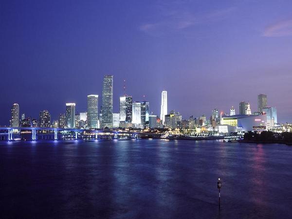 Miami skyline at night.  Purple, Miami, #travel #travelinspiration #travelphotography #miami #YLP100BestOf #wanderlust