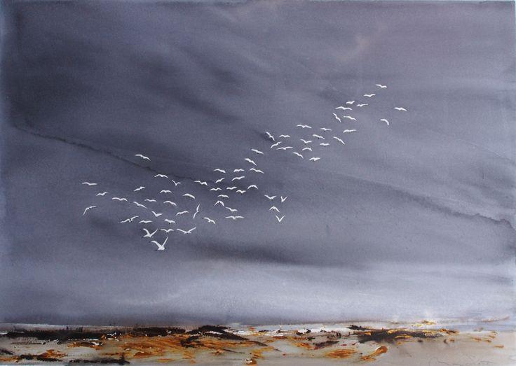 50 x 70  Hvide fugle mod uvejrshimmel Mona Sloth-Akvarel