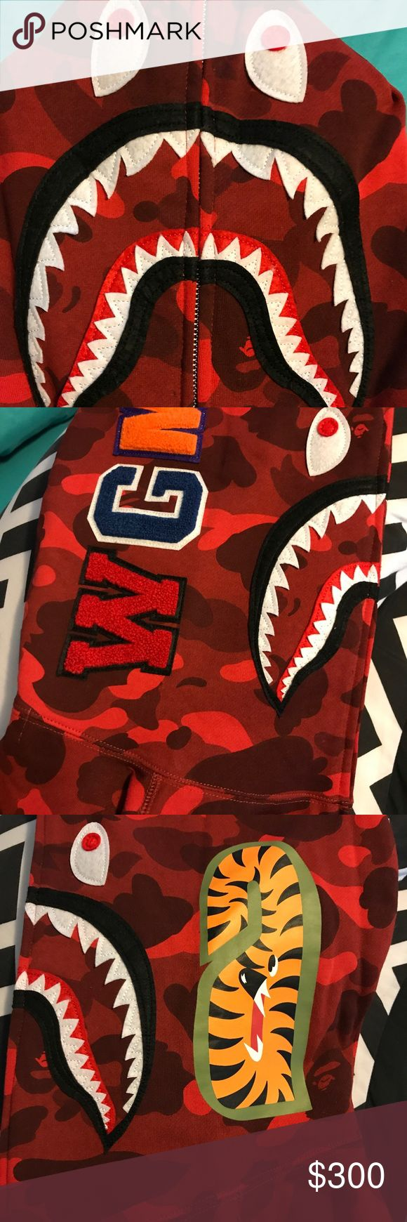 BAPE Shark Hoodie Red Camo Picture are taken from item itself. Serious Buyers Only! Bape Jackets & Coats